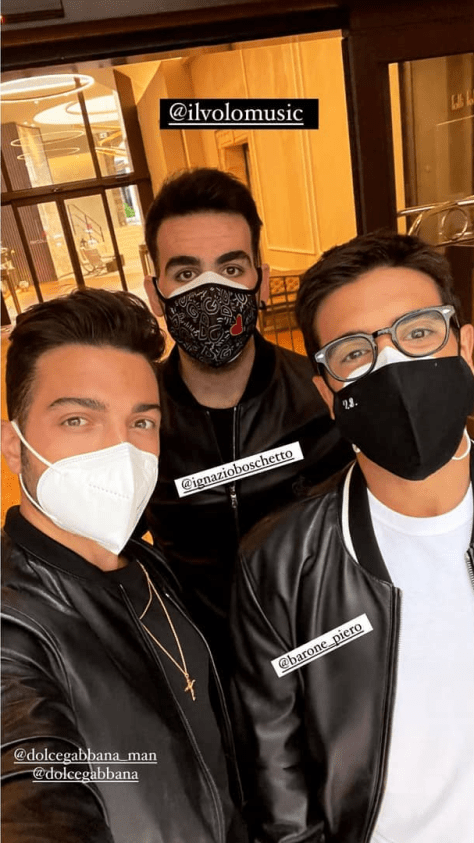Left to right: Gianluca, Ignazio and Piero wearing masks