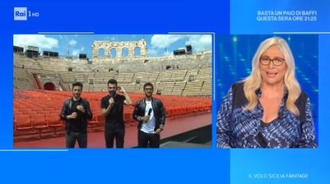 Screen shot of Mara on the right interviewing IL VOLO in Verona Arena