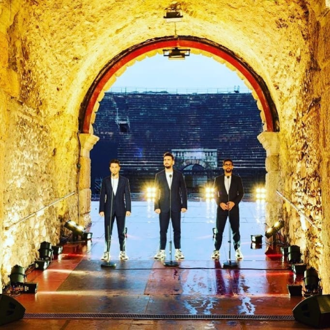Left to right: Gianluca, Ignazio and Piero standing in the Arena tunnel