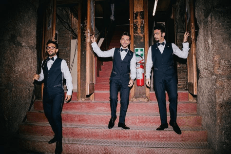 Left to right: Piero, Gianluca and Ignazio on the backstage steps of the Verona arena