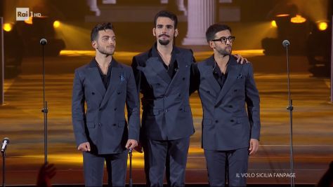 Left to right: Gianluca, Ignazio and Piero standing together on the Arena stage