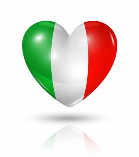 Green, white and red Italian heart graphic