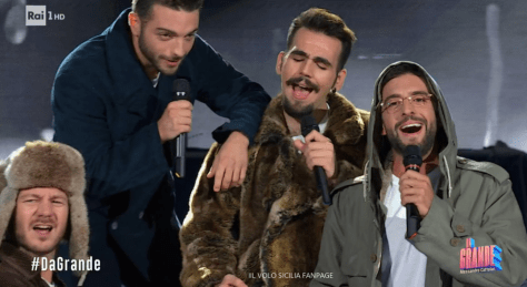 Cattelan and IL VOLO dressed in winter coats