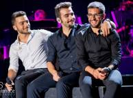 Left to right: Gianluca, Ignazio and Piero sitting on the stage