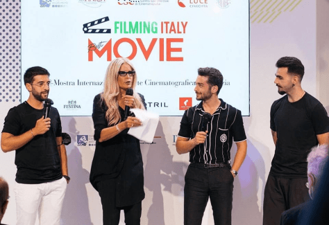 IL VOLO being given their Film Italy Movie Award by Tiziana Rocca