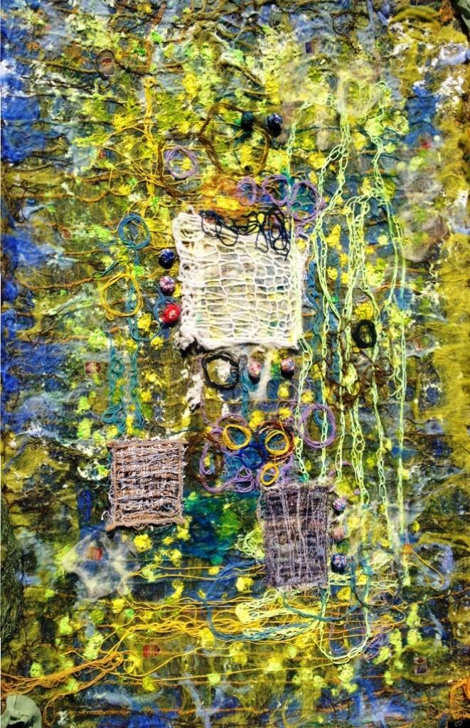 """Tekstil collage """"Legen"""""""