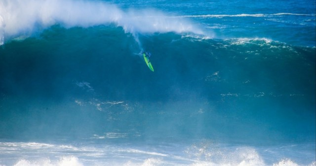 Jamie Mitchell on his way to taking victory at the Nazare Challenge.