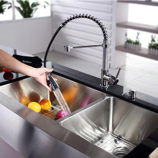 Kraus Farmhouse 6040 Double Bowl Kitchen Sink And Chrome