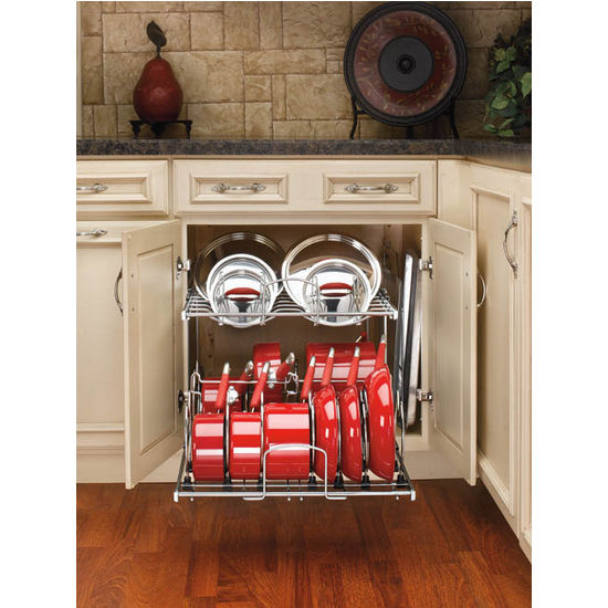 two-tier pots, pans and lids organizer for kitchen cabinet - heavy