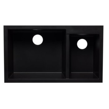 34 w double bowl undermount granite composite kitchen sink in biscuit black white chocolate or titanium finish by alfi brand kitchensource com