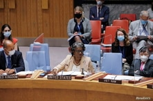 U.S. Ambassador Linda Thomas-Greenfield addresses the United Nations Security Council regarding the situation in Afghanistan at…