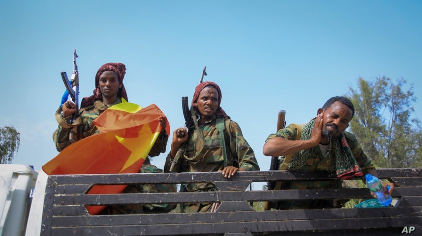 Tigray forces travel in a truck after taking control of Mekele, in the northern regino of Tigray, Ethiopia.