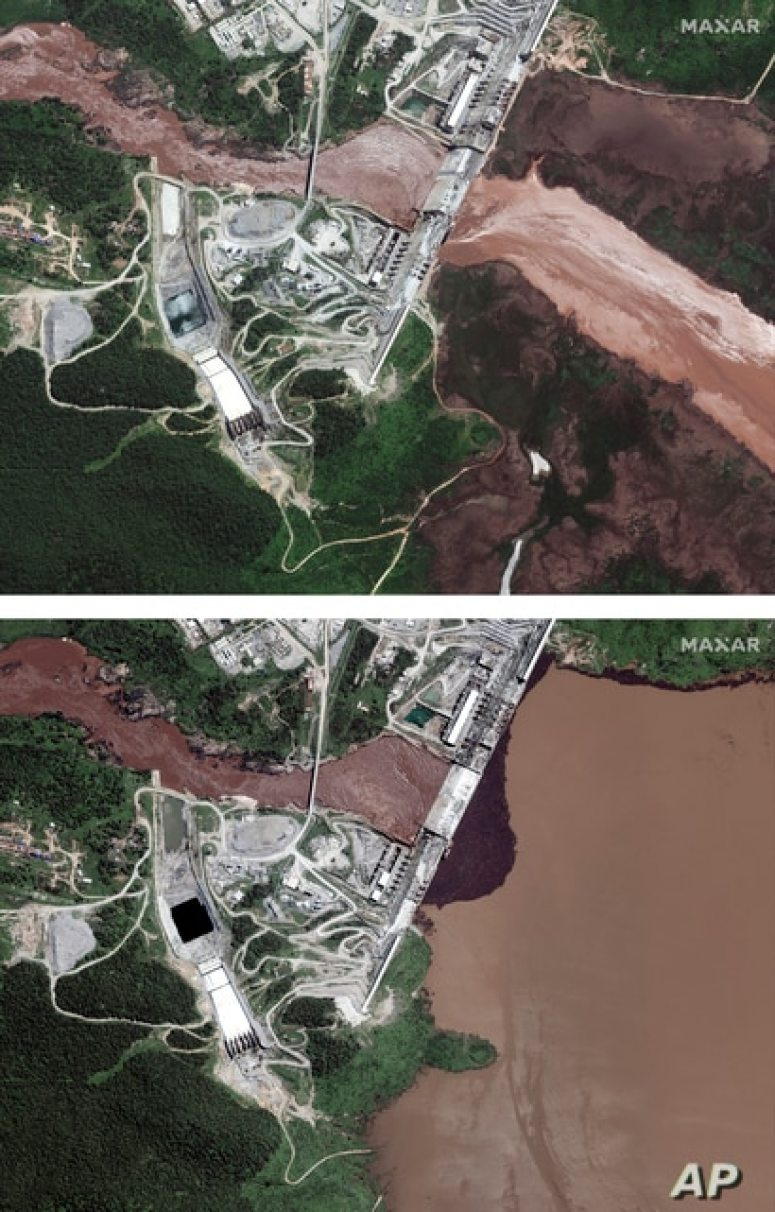 This combination image made from satellite images taken on Friday, June 26, 2020, above, and Sunday, July 12, 2020, below,…