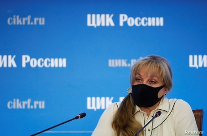 Ella Pamfilova, head of Russia's Central Election Commission, wearing a protective face mask, is seen at a news conference on the preliminary results of a vote on constitutional reforms, at the commission's headquarters in Moscow, Russia, July 2, 2020.