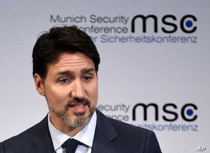Justin Trudeau, Prime Minister of Canada speaks on the first day of the Munich Security Conference in Munich, Germany, Friday,…