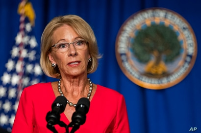 Education Secretary Betsy DeVos speaks during a White House Coronavirus Task Force briefing at the Department of Education…
