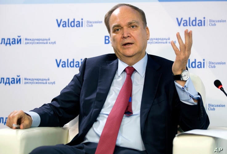Anatoly Antonov, Russian ambassador to the U.S. gestures while speaking during a round-table discussion on the Trump-Putin summit in Helsinki in Moscow, Russia, July 20, 2018.