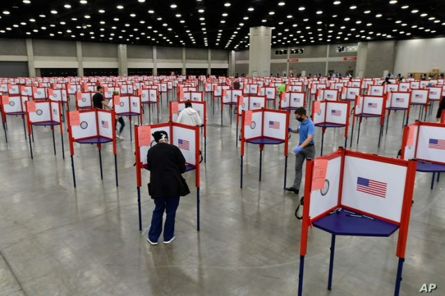 Voting stations are seen in the South Wing of the Kentucky Exposition Center for voters to cast their ballots in the Kentucky primary, in Louisville, Kentucky, June 23, 2020.