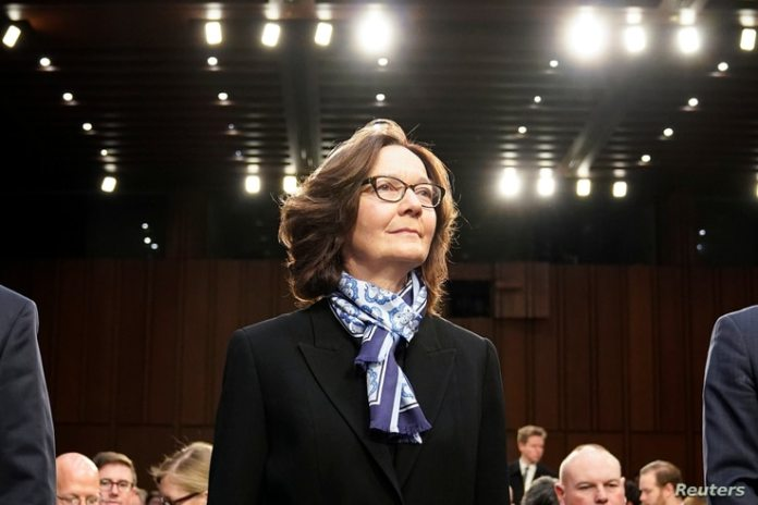 FILE - CIA Director Gina Haspel arrives on Capitol Hill to testify before a Senate Intelligence Committee.