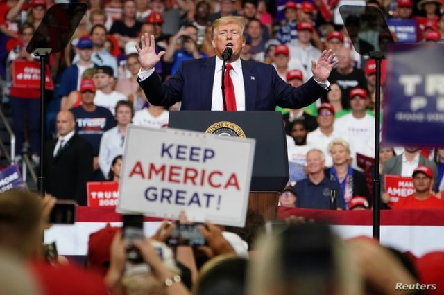 U.S. President Donald Trump speaks at a campaign kick off rally at the Amway Center in Orlando, Florida, U.S., June 18, 2019…