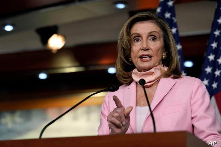 House Speaker Nancy Pelosi speaks during a news conference on Capitol Hill in Washington, Aug. 22, 2020.