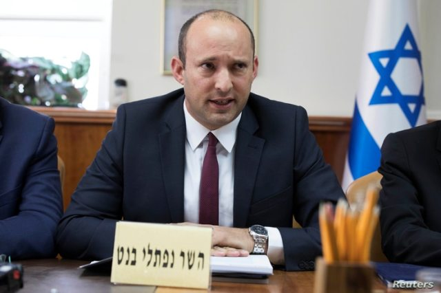 Israeli Education Minister Naftali Bennett attends the weekly cabinet meeting in Jerusalem January 27, 2019. Abir Sultan/Pool…