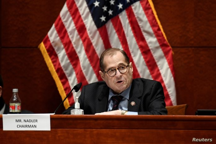 Rep.  Jerrold Nadler, DN.Y., chairman of the House Legal Committee, speaks at a USHouse Legal Committee on political ...