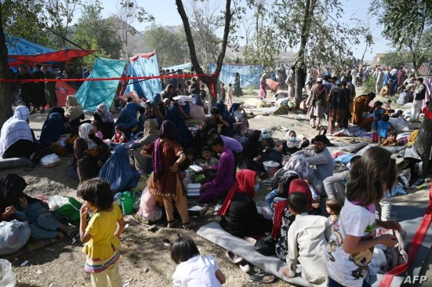Internally displaced Afghan families, who fled from Kunduz and Takhar province due to battles between Taliban and Afghan…