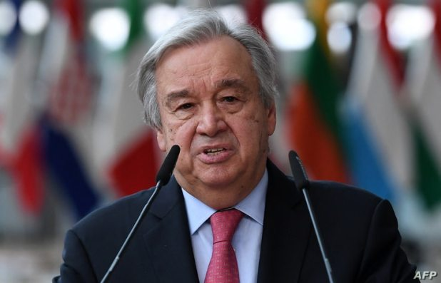 (FILES) In this file photo taken on June 24, 2021 Secretary-General of the United Nations Antonio Guterres addresses media…