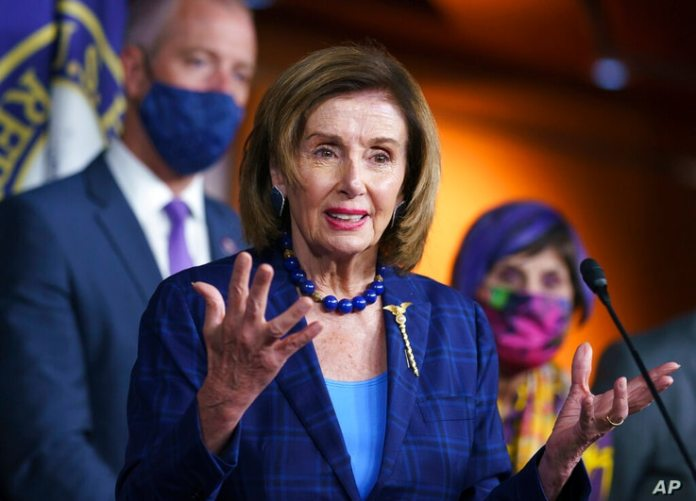 House Speaker Nancy Pelosi, D-Calif., and Democratic leaders discuss their legislative agenda, which includes voting rights,…
