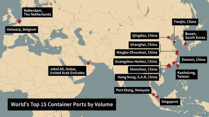 Beijing controls or makes large investments in 15 of the world's top 15 ports by container volume