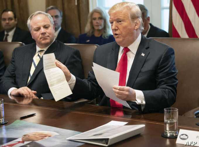 US President Donald Trump unveiled a letter he received from North Korean leader Kim Jong-un during a White House cabinet meeting in January.