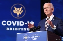 U.S. President-elect Joe Biden delivers remarks on the U.S. response to the coronavirus disease (COVID-19) outbreak, at his…