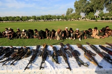 ISIS militants who surrendered to the Afghan government are presented to media in Jalalabad, Nangarhar province, Afghanistan…