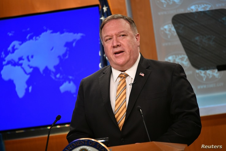 U.S. Secretary of State Mike Pompeo gives a news conference about dealings with China and Iran, and on the fight against the…