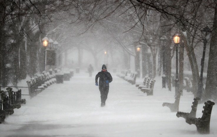 A man runs in Riverside Park during a winter storm on the upper west side of Manhattan in New York City, New York, U.S.,…