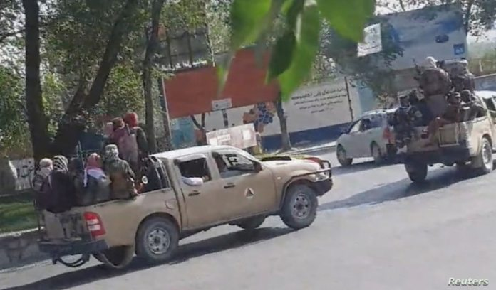 Taliban drive through the streets of Kabul