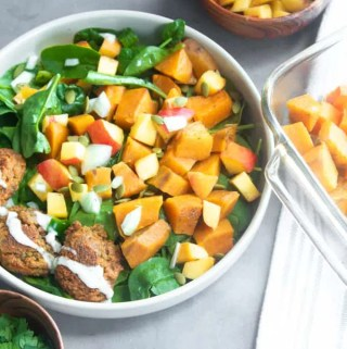 sweet potatoes with peach salsa and falafel