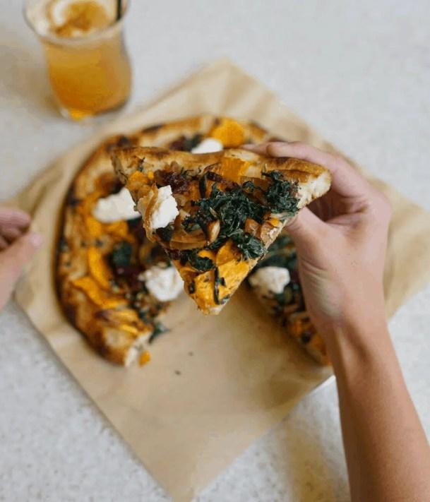 vegan pizza from true food kitchen in Chicago