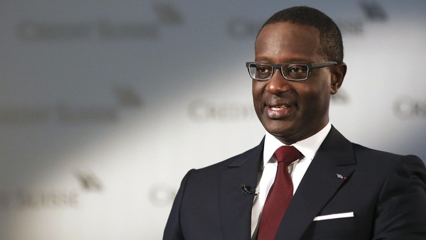 Tidjane Thiam, chief executive officer for Credit Suisse Group AG, speaks during a Bloomberg Television interview at the bank's headquarters in Zurich, Switzerland, on Thursday, July 23, 2015. Credit Suisse reported second-quarter net income that beat analyst estimates even as profit from investment banking fell in the months before Thiam took over. Photographer: Chris Ratcliffe/Bloomberg *** Local Caption *** Tidjane Thiam