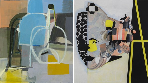 Left, Amy Sillman, 'Still Life' (2014). Right: Charline Von Heyl, 'Carlotta' (2013)