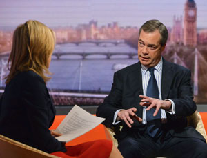 Nigel Farage with Sophie Raworth on 'The Andrew Marr Show', March 3