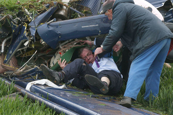 Nigel Farage being pulled out of a plane wreckage in May 2010