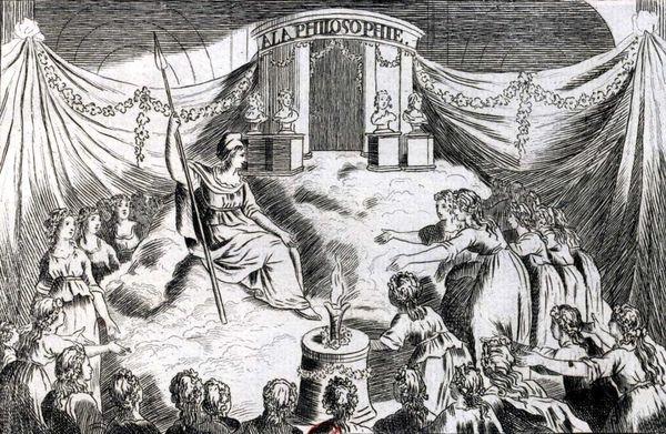 """Notre Dame Katedrali'nde yapılan bir """"Akıl Kültü"""" âyini."""