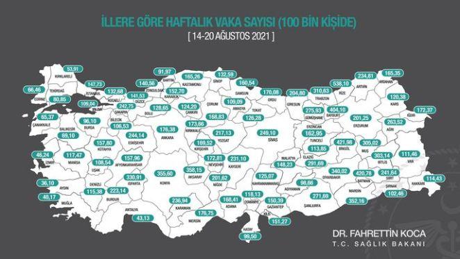 İl il risk haritası 14-20 Ağustos! Türkiye risk haritasına göre düşük, orta, yüksek ve çok yüksek riskli iller 13