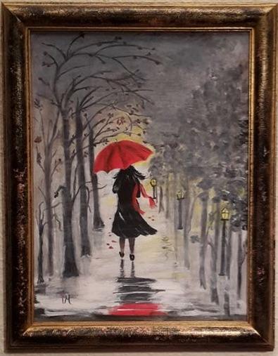 """Dam med paraply"". Akryl. Såld"
