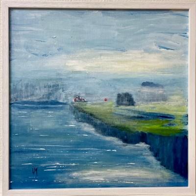 """""""Huset på udden"""". Akryl. 60 x 40 cm"""