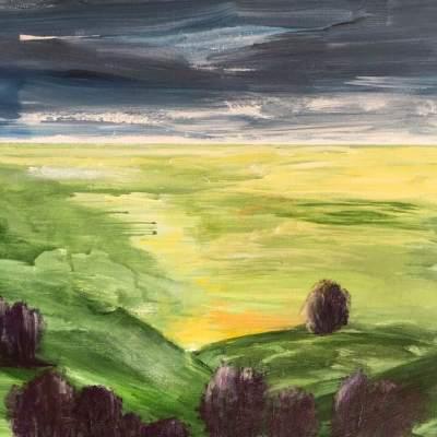 """""""Landskap"""". Akryl. Övermålad"""