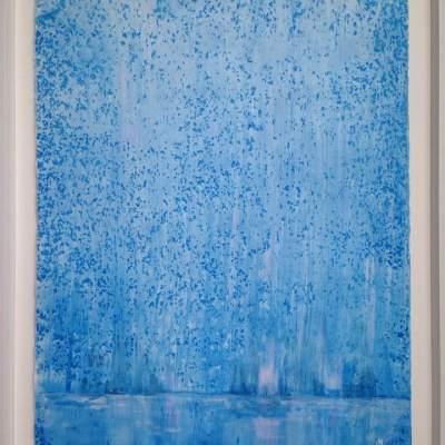 5.akryl på silkespapper i regn