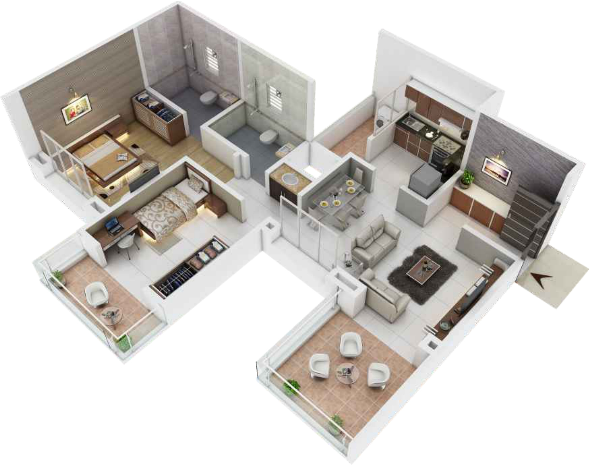 1000 sq ft 2 BHK 2T Apartment for Sale in Waghere ...